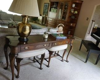 piano NOT. For SALE,  brass lamp, console table w/Stools