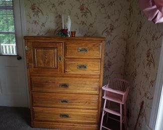 wood chest, wood doll high chair 1950's