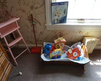 Wood high chair, rug sweeper, wood cradle, Fisher Price toys