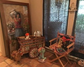 Lots of Southwest! Bar cart, folding chair, large painting and more!