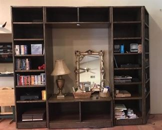 Large solid wood five piece media cabinet/entertainment center.