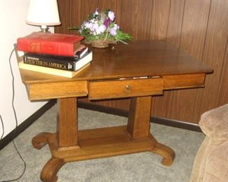 Antique Oak Library Table w/Drawer