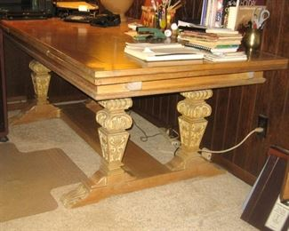 Unusual Table, Top Pulls out Long, from a Church? Business? Eclectic Style Furniture Piece