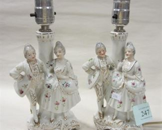 PAIR OF FIGURAL PORCELAIN BOUDIOR LAMPS LAMPS