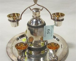 MINI SILVER PLATED LIQUOR SET WITH GOLD WASHED INTERIORS