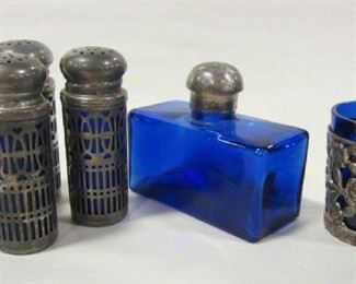 COBALT GLASS/SILVERPLATE SHAKERS , CUP