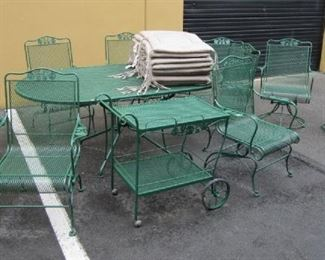 WROUGHT IRON PATIO SET WITH TABLE, CHAIRS AND TEACART