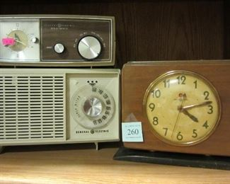vintage GE radios and clock