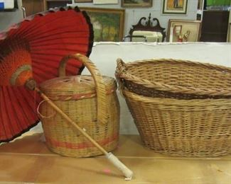 baskets and Japanese parasol