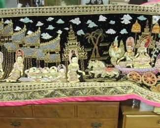 large Thai  textile tapestry
