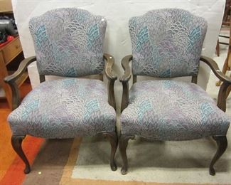 Upholstered pair of arm chairs