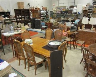 Assortment of home decor and furnishings.  Average dining set price $12.