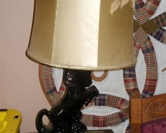 Vintage Pottery Horse Table Lamp