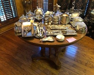 """Nambe, pewter and 42"""" round dining table"""