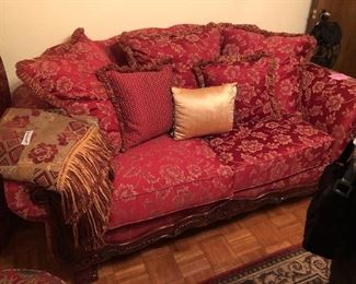 Pair of red and gold brocade sofas