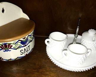 Milk glass serving tray w/sugar and creamer, hanging salt box marked Czechoslovakia