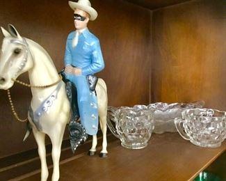 Vintage Lone Ranger plastic figure, patterned glass