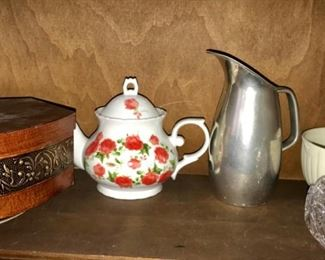 Wooden box, teapot, pewter pitcher marked made in England,, vintage white serving bowl, lidded crystal jar