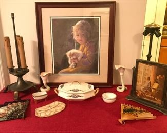 """Framed art, antique/vintage table lamps, fans, beaded purse labeled """"Byle Jule"""" , cornucopia vases marked FF, small footed bowl marked MZ Austria, small bowl marked Germany, covered tureen marked Maytime Pattern S.C.Company Martha Washington"""
