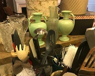 Various kitchen items, beautiful pattern glass jug, pair of vintage Haeger pottery green vases, vintage hat boxes (w/hats!)