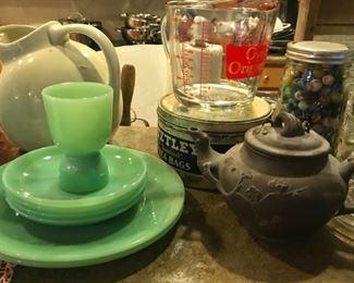 FireKing jadite plates and cup, vintage white pitcher, Tetley tea bag tin, Asian teapot, more