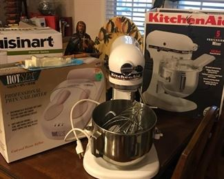 Kitchen Aid mixer in box, Hotspa Professional Twin Nail Dryer in box, large painted platter