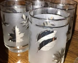 Mid-century frosted leaf tumblers