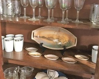 Opalescent crystal, porcelain tumblers, mid-century tumblers,more