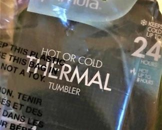 """One of several nice, new, in box, thermal """"go"""" tumblers"""