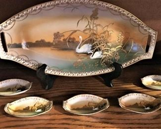 Set of vintage swan dishes