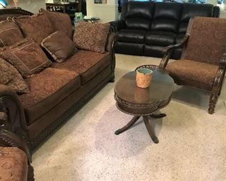 Sofa with 2 upholstered arm chairs, coffee table