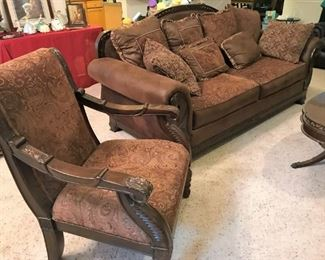 Upholstered sofa, arm chair