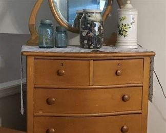 Birdseye Maple tall, mirrored dresser, lamp, blue mason jars, large jar of buttons