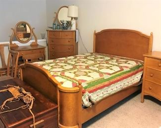 7 Piece Birdseye Maple Bedroom Set, Vintage trunk, bow and quiver
