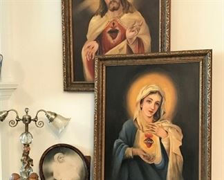 Sacred Heart representative pictures by Anna Dugan and Dixie Dugan, vintage table lamp, busts, linens