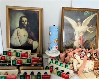 Framed religious pictures, vintage Christmas ornaments (Shiny Bright & more)