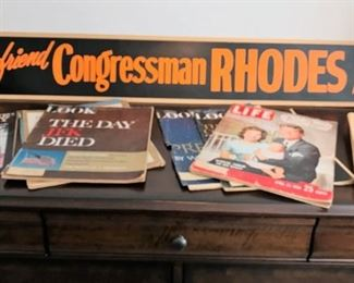 Vintage political advertising sign, Excellent condition Life and LOOK magazines JFK