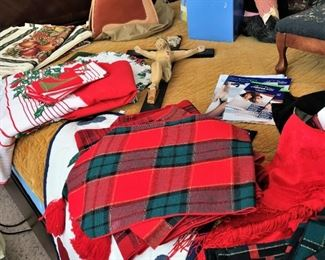 Christmas and other holiday linens, hat, crucifix