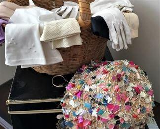Vintage hat, vintage ladies gloves