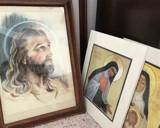 """Framed """"Jesus"""" picture, beautiful unframed saints prints one from Carmelite Monastery"""