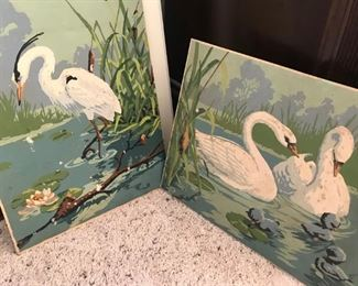 Swans on boards
