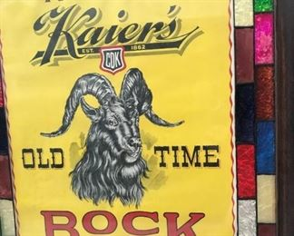 One of a matching pair of painted Bock Beer advertising signs