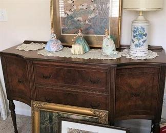 Elegant sideboard, Asian print, Josef originals figurines, table lamp,  Framed  art, snowy landscape signed Sister M.James