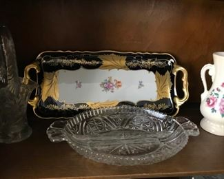 Patterned glass, vintage tray