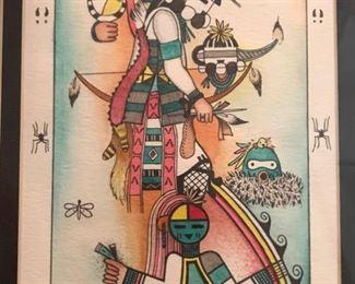 Framed native american themed art signed Koop