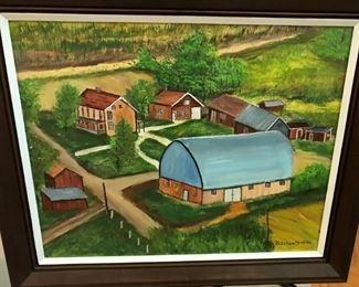 Primitive Farm scene signed B. Schweitzer '86