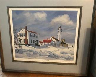 """Framed, signed, low numbered(34/300)print """"Whitefish Pte.1849"""" print by Mary C. Demroske"""