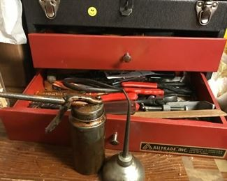 Tool box, tools, oil cans