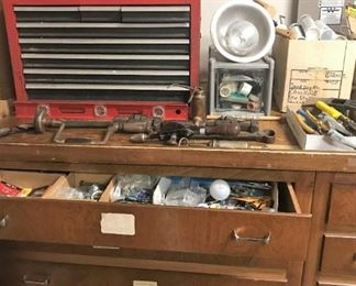 Tools!  Wooden chest bench not for sale