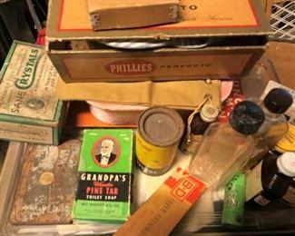 Vintage tins, bottles, advertising
